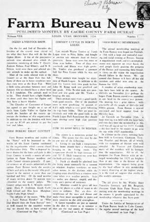 Farm Bureau News, Cache County, Volume VIII, Number 7, December 1924