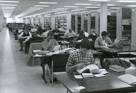 Reading area, second floor, Merrill Library, 1963