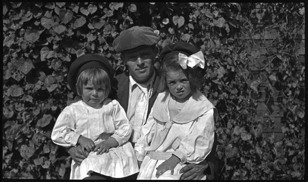 "Jack London with his Daughters: Becky ""Bess"" and Joan"