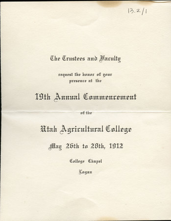 1912 UAC Commencement Invitation Cover