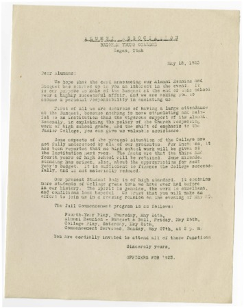 Letter urging attendance at the 1923 alumni reunion and banquet (May 12, 1923)