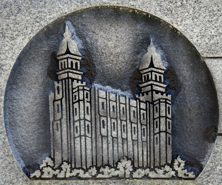 LDS temple symbol on headstone