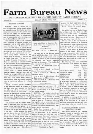 Farm Bureau News, Cache County, Volume IV, Number 1, June 1925