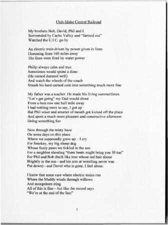 "John Sorensen's ""Utah-Idaho Central Railroad"" Poem<br />"