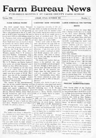 Farm Bureau News, Cache County, Volume VIII, Number 7, December 1921