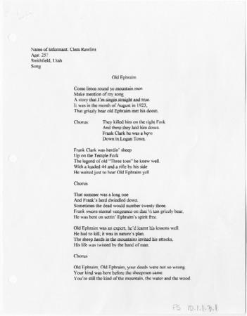 """""""Old Ephraim"""" song"""