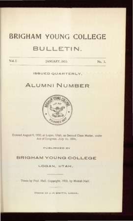 Brigham Young College Bulletin, Alumni Number, January, 1903