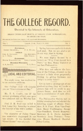 The College Record, March 31, 1893