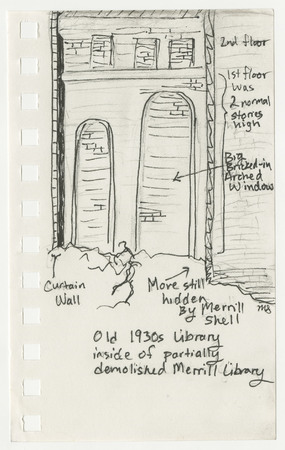 Drawing of 1930's library under partially demolished Merrill library