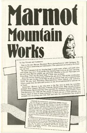 Marmot Mountain Works, 1980