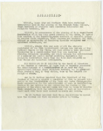 Cache Chamber of Commerce resolution concerning the closure of the Brigham Young College, Logan, Utah, c. 1920s