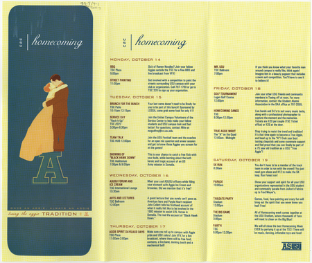 """""""Living the Aggie Tradition"""" - brochure for USU homecoming, 2003"""