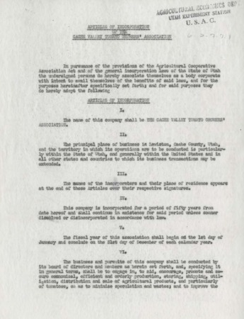 Articles of Incorporation of the Cache Valley Tomato Growers' Association