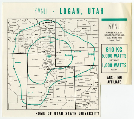 Broadcasting map of KVNU Radio Station, c. 1965.  The station aired throughout much of the inter-mountain region.