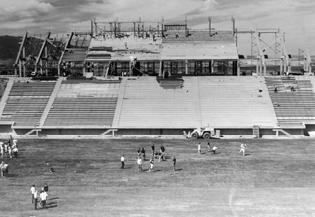 View of Romney Stadium construction, 1969