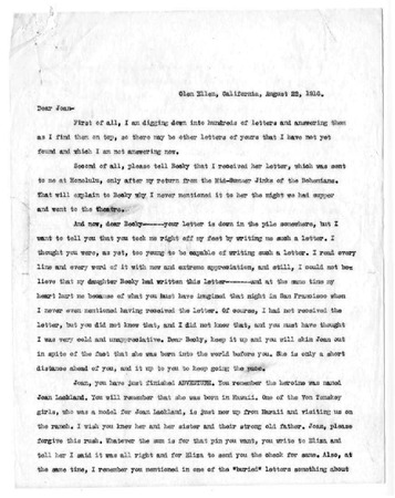 Jack London letter to Joan London, dated August 22, 1916