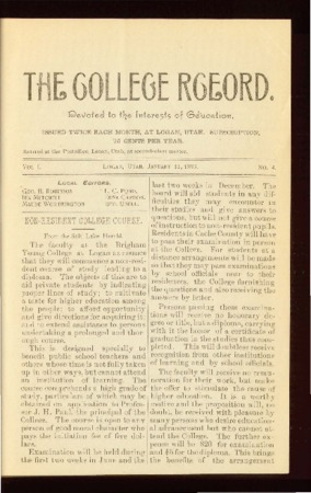 The College Record, January 27, 1893