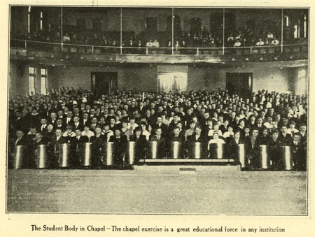 The Student Body in Chapel (Nibley Hall)
