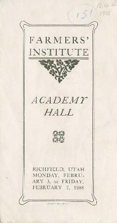 Farmers' Institute Academy Hall program