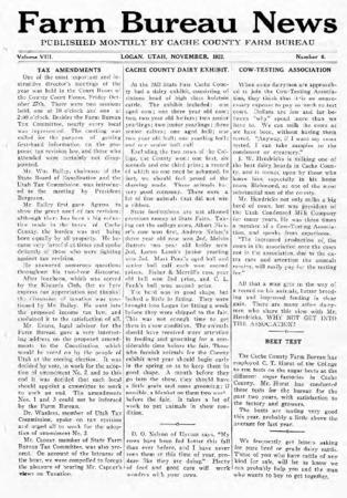 Farm Bureau News, Cache County, Volume VIII, Number 6, November 1922