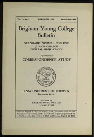 Brigham Young College Bulletin, December, 1920