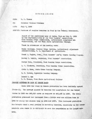 Memorandum regarding the purchase of surplus tomatoes in Utah by the federal government