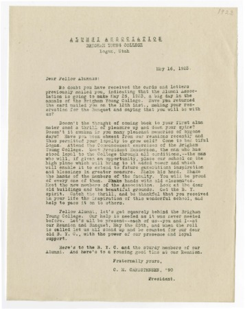 Letter from C.M. Christensen to BYC Alumni regarding the 1923 Alumni Reunion and Banquet