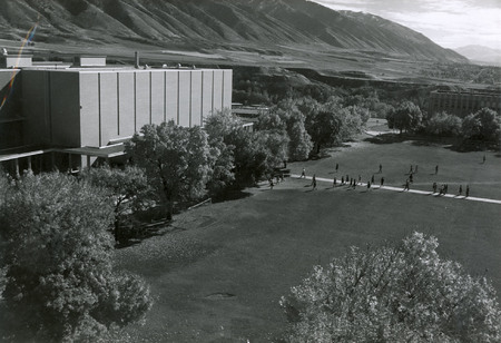 Merrill Library and students on the Quad viewed from upper floors of the Geology building, 1967