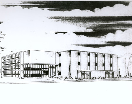 Library, architectural drawing for enlargement, circa 1960