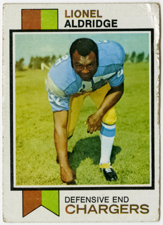 Football card - Lionel Aldridge, San Diego Chargers, 1973