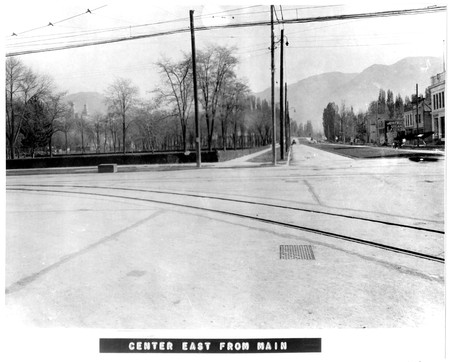 Scene of East Center Street in Logan, Utah.