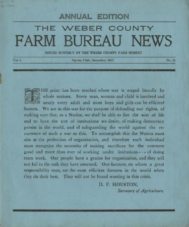 Weber County Farm Bureau News Volume 1, Number 11, December, 1917