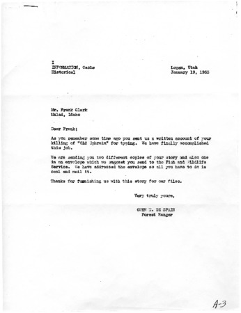 Letter from Owen De Spain to Frank Clark, January 19, 1953