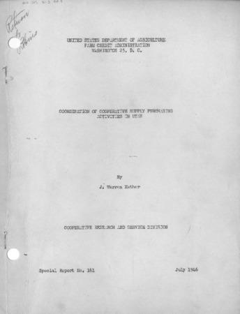 Coordination of Cooperative Supply Purchasing Activities in Utah, Special Report No. 161 by J. Warren Mather