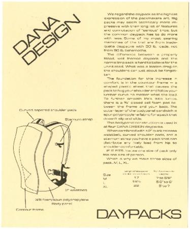 Dana Design, Daypacks, undated
