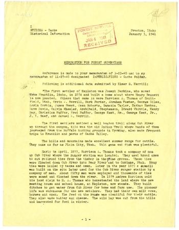 Memorandum for Forest Supervisor