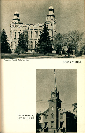 Utah State Guide Images of the Logan Temple and the St. George Tabernacle