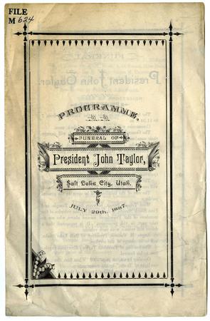 John Taylor Funeral Program