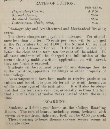 Page from BYC 1887 Circular noting Rates of Tuition and Boarding