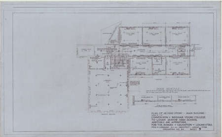 Conversion of Brigham Young College to Logan Senior High School; plan of second story – main building