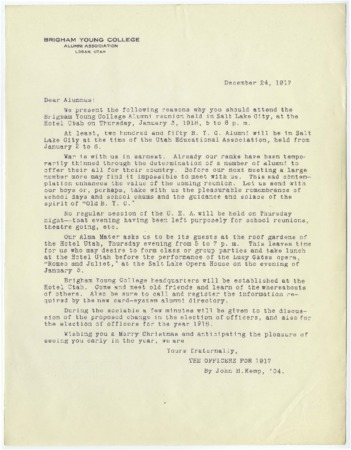Letter from the Brigham Young College Alumni Association requesting attendance at the 1918 January 3 Reunion (1917 December 24)