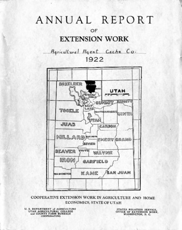 Annual Report of Extension Work Agricultural Agent, Cache County, 1922