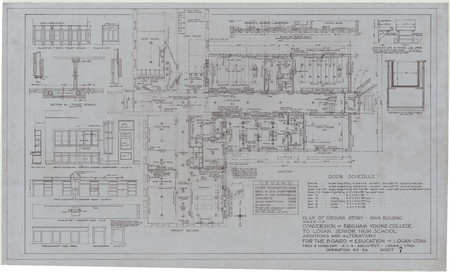 Conversion of Brigham Young College to Logan Senior High School; plan of ground story