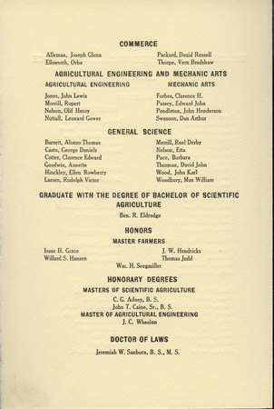 1915 UAC Commencement Program Page 3