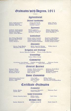 1911 UAC Commencement Program Page 2