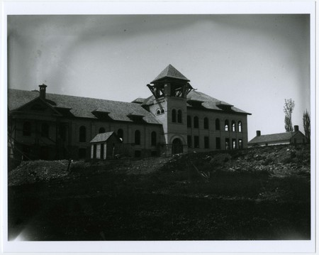 West Building of the Brigham Young College under construction
