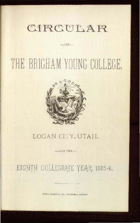 Circular of the Brigham Young College, 1885-1886