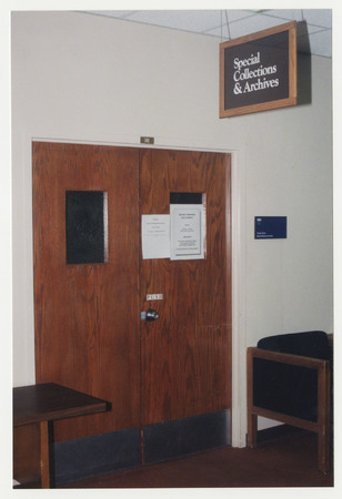 Door to Special Collections &amp; Archives Reading Room, Merrill Library<br />
