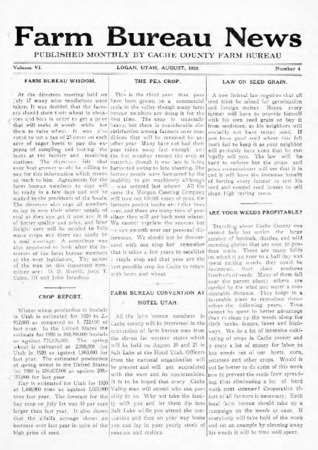 Farm Bureau News, Cache County, Volume VI, Number 4, August 1920