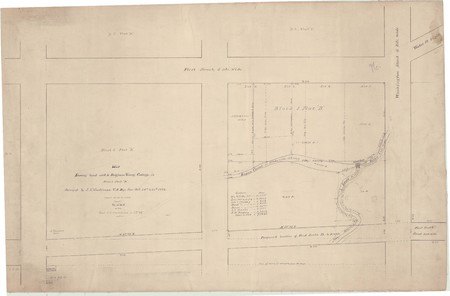U.S. Department of Surveys map of BYC Block 1 and Block 2 with proposed street changes, 1892
